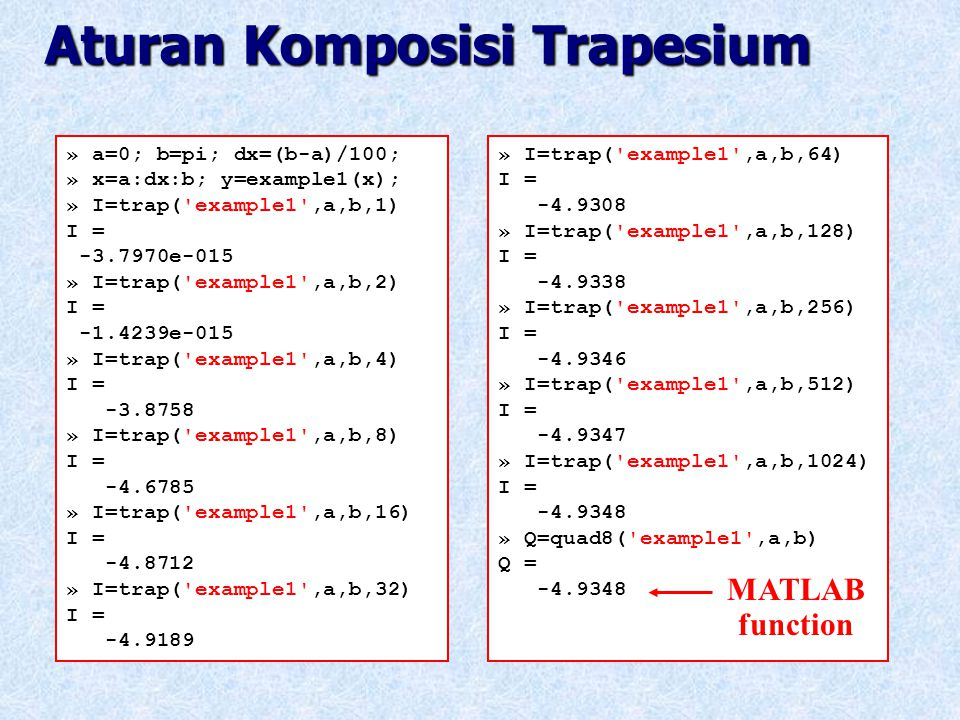 » a=0; b=pi; dx=(b-a)/100; » x=a:dx:b; y=example1(x); » I=trap('example1',a,b,1) I = -3.7970e-015 » I=trap('example1',a,b,2) I = -1.4239e-015 » I=trap