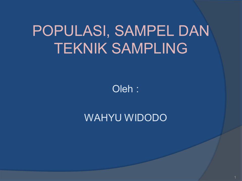 POPULASI, SAMPEL DAN TEKNIK SAMPLING Oleh : WAHYU WIDODO 1