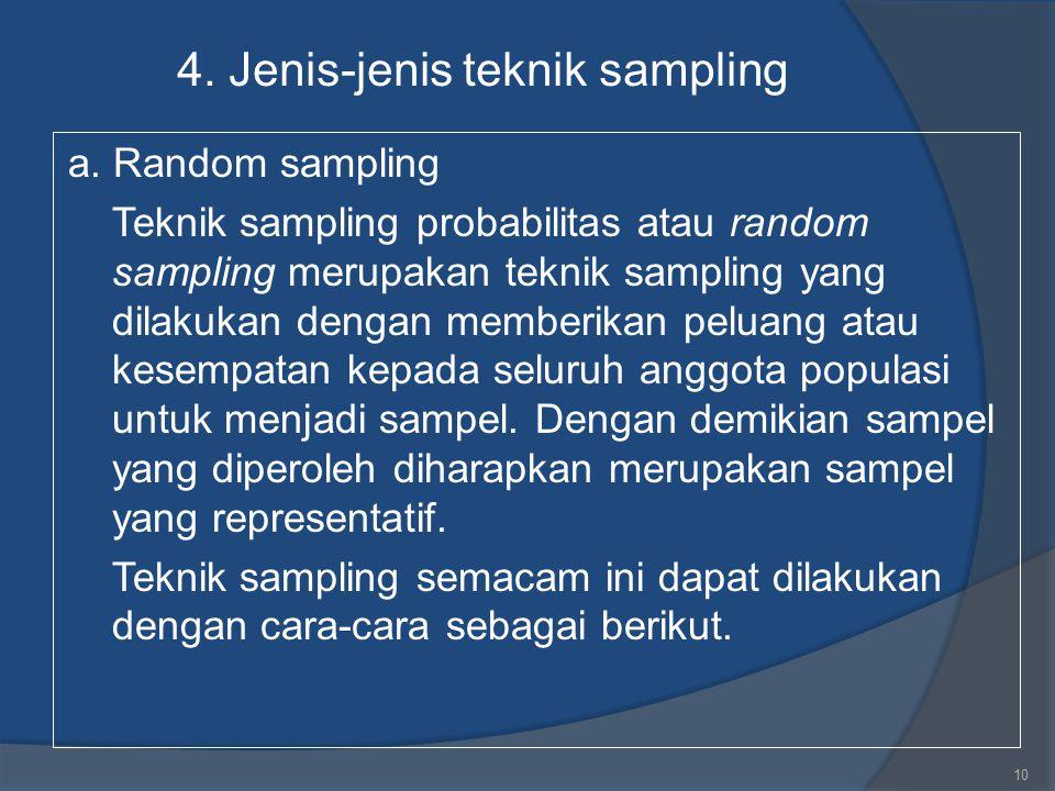 4. Jenis-jenis teknik sampling a. Random sampling Teknik sampling probabilitas atau random sampling merupakan teknik sampling yang dilakukan dengan me