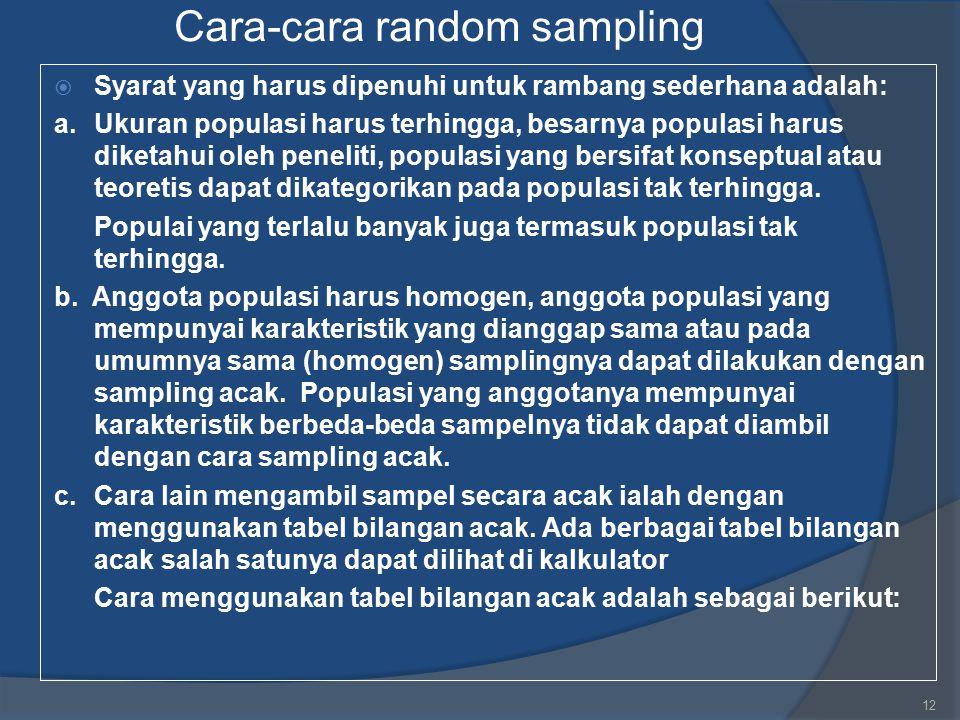 Cara-cara random sampling  Syarat yang harus dipenuhi untuk rambang sederhana adalah: a.Ukuran populasi harus terhingga, besarnya populasi harus dike