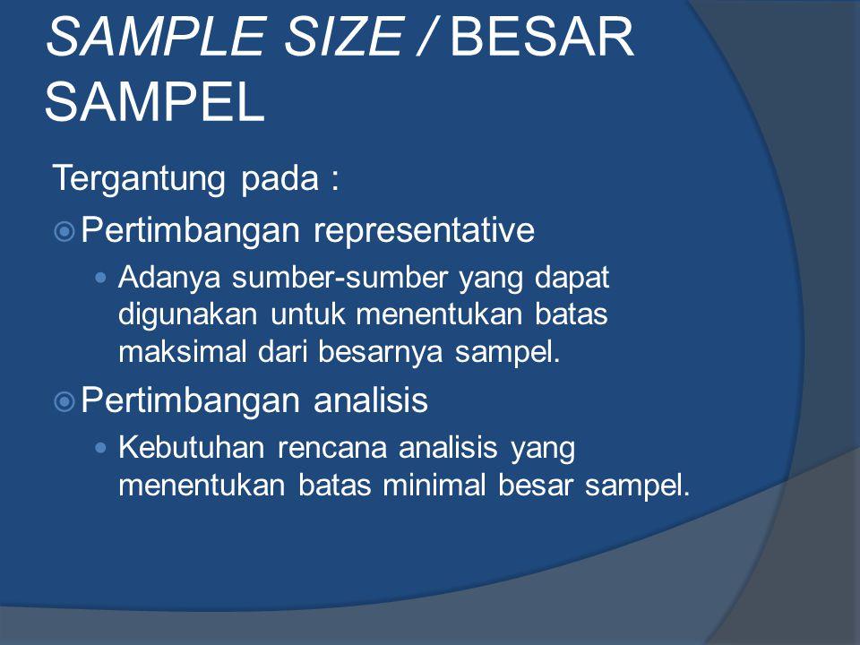 SAMPLE SIZE / BESAR SAMPEL Tergantung pada :  Pertimbangan representative Adanya sumber-sumber yang dapat digunakan untuk menentukan batas maksimal d