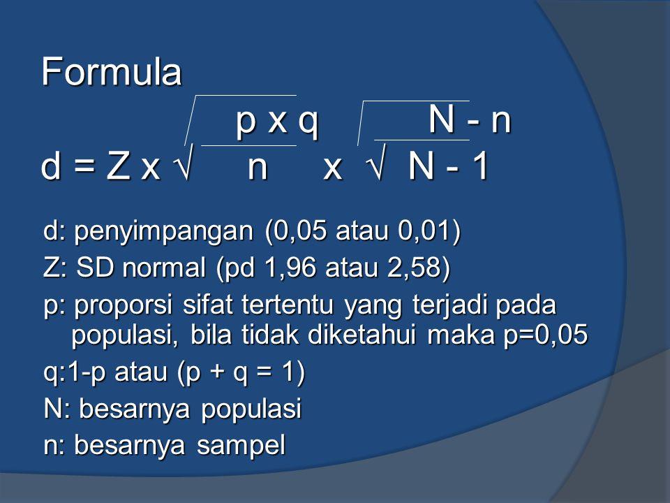 Formula p x q N - n d = Z x √ n x √ N - 1 d: penyimpangan (0,05 atau 0,01) Z: SD normal (pd 1,96 atau 2,58) p: proporsi sifat tertentu yang terjadi pa