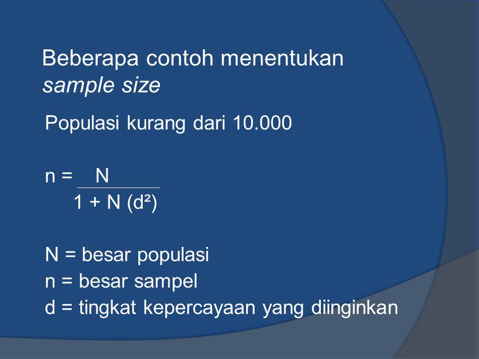 Beberapa contoh menentukan sample size Populasi kurang dari 10.000 n = N 1 + N (d²) N = besar populasi n = besar sampel d = tingkat kepercayaan yang d