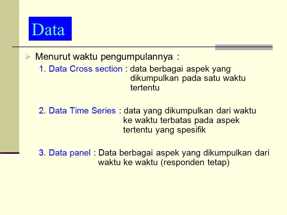 data  Menurut waktu pengumpulannya : 1. Data Cross section : data berbagai aspek yang dikumpulkan pada satu waktu tertentu 2. Data Time Series : data