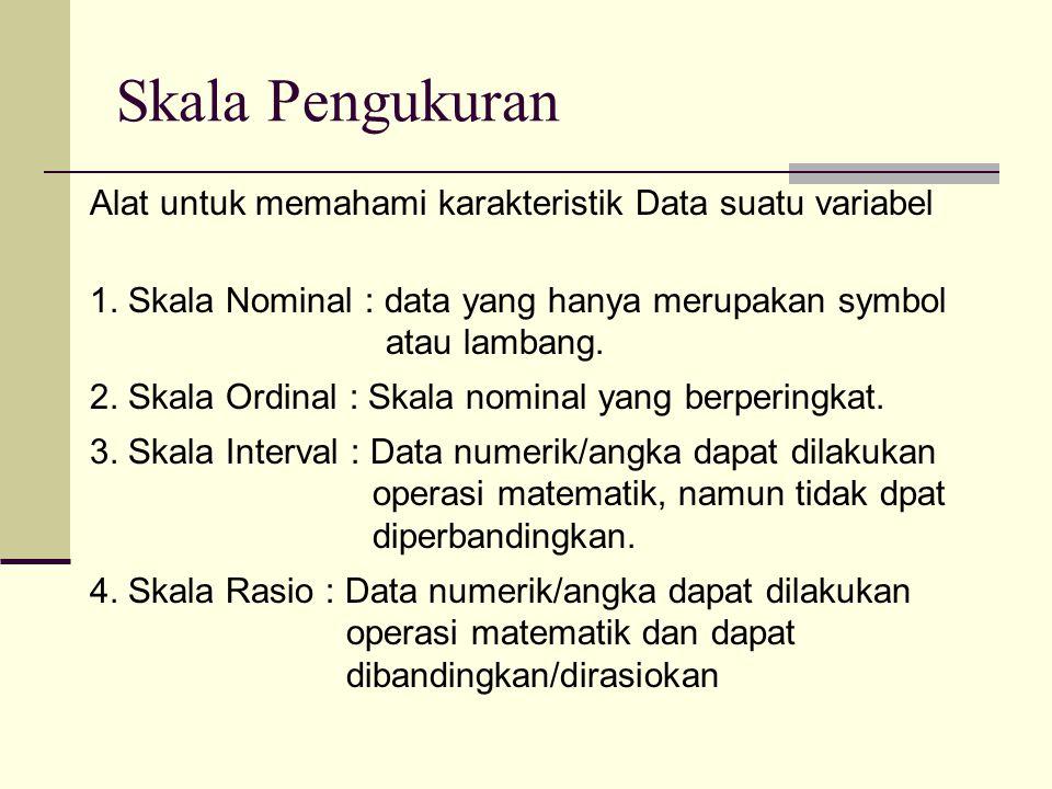 Skala Pengukuran Alat untuk memahami karakteristik Data suatu variabel 1. Skala Nominal : data yang hanya merupakan symbol atau lambang. 2. Skala Ordi