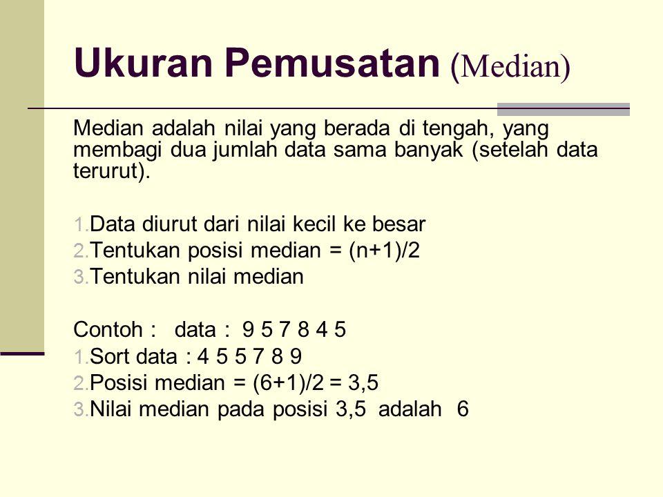 Ukuran Pemusatan ( Median) Median adalah nilai yang berada di tengah, yang membagi dua jumlah data sama banyak (setelah data terurut). 1. Data diurut