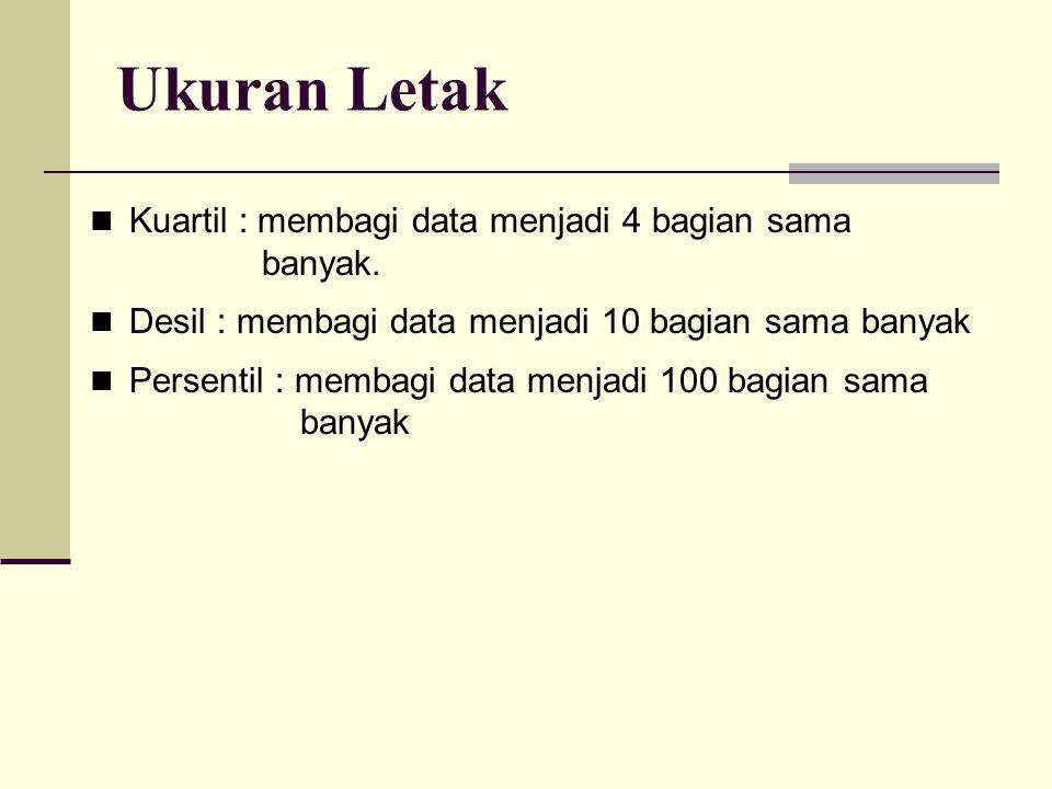 Ukuran Letak Kuartil : membagi data menjadi 4 bagian sama banyak. Desil : membagi data menjadi 10 bagian sama banyak Persentil : membagi data menjadi
