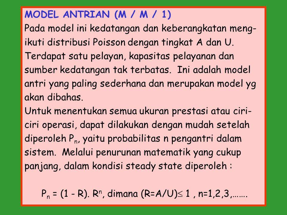 MODEL ANTRIAN (M / M / 1) Pada model ini kedatangan dan keberangkatan meng- ikuti distribusi Poisson dengan tingkat A dan U. Terdapat satu pelayan, ka