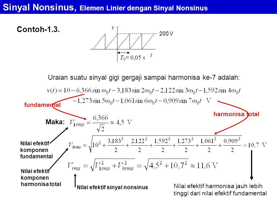 Contoh-1.3. T 0 = 0,05 s 200 V t v Uraian suatu sinyal gigi gergaji sampai harmonisa ke-7 adalah: Maka: Nilai efektif komponen fundamental Sinyal Nons