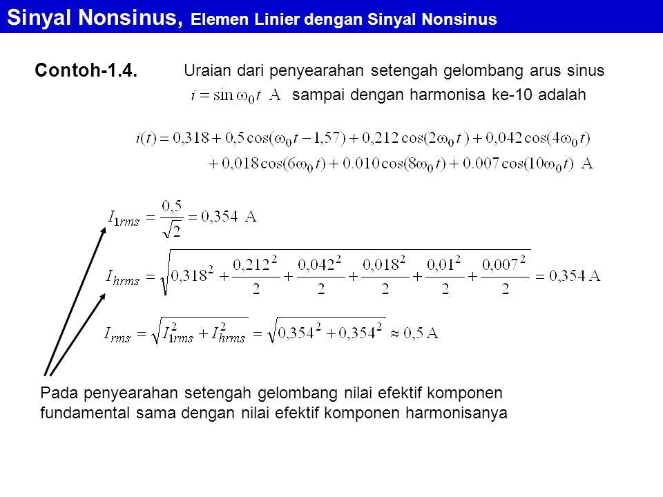 Contoh-1.4. Uraian dari penyearahan setengah gelombang arus sinus sampai dengan harmonisa ke-10 adalah Pada penyearahan setengah gelombang nilai efekt