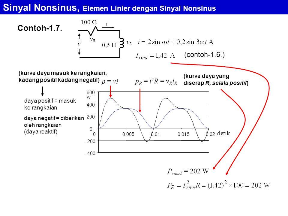 Contoh-1.7. Sinyal Nonsinus, Elemen Linier dengan Sinyal Nonsinus 0,5 H 100  i vRvR vLvL v (contoh-1.6.) P rata2 = 202 W p = vi p R = i 2 R = v R i R