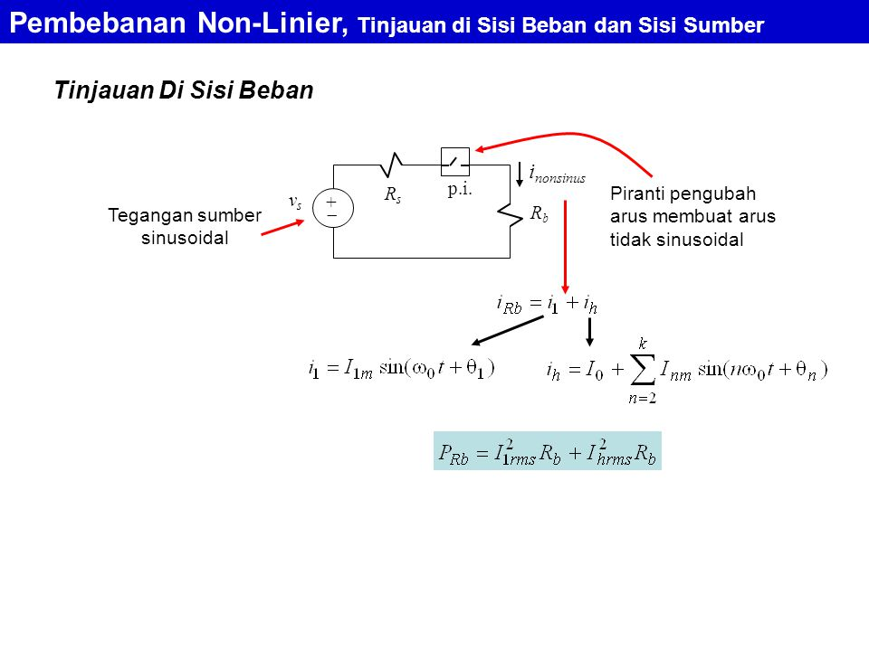 Pembebanan Non-Linier, Tinjauan di Sisi Beban dan Sisi Sumber Tinjauan Di Sisi Beban i nonsinus RbRb vsvs +  p.i. RsRs Tegangan sumber sinusoidal Pir