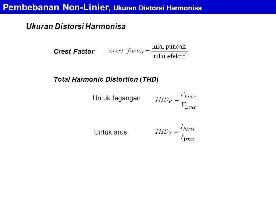 Pembebanan Non-Linier, Ukuran Distorsi Harmonisa Crest Factor Total Harmonic Distortion (THD) Untuk tegangan Untuk arus