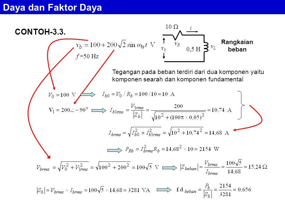 CONTOH-3.3. 0,5 H 10  i vRvR vLvL vbvb f =50 Hz Tegangan pada beban terdiri dari dua komponen yaitu komponen searah dan komponen fundamental Rangkaia
