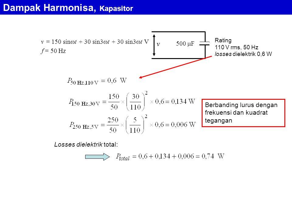 f = 50 Hz 500  F v = 150 sin  t + 30 sin3  t + 30 sin3  t V v Rating 110 V rms, 50 Hz losses dielektrik 0,6 W Losses dielektrik total: Berbanding