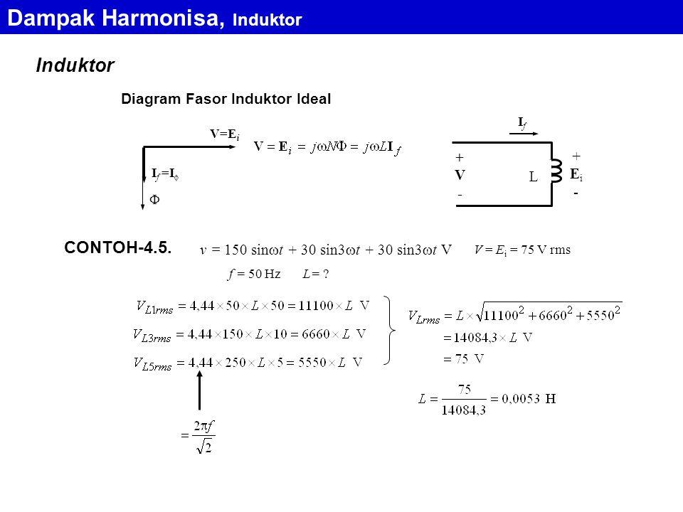 Induktor Dampak Harmonisa, Induktor Diagram Fasor Induktor Ideal V=EiV=Ei I f =I   L IfIf +Ei-+Ei- +V-+V- CONTOH-4.5. v = 150 sin  t + 30 sin3  t