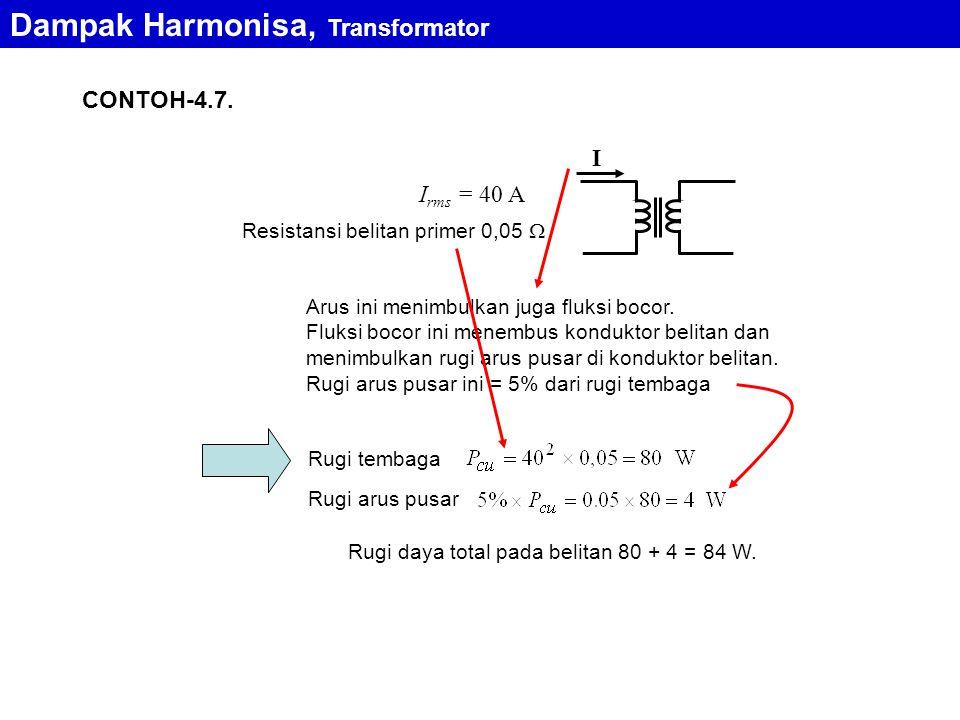 CONTOH-4.7. Resistansi belitan primer 0,05  I I rms = 40 A Arus ini menimbulkan juga fluksi bocor. Fluksi bocor ini menembus konduktor belitan dan me