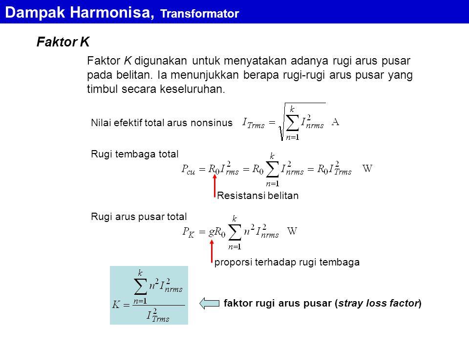 Faktor K Faktor K digunakan untuk menyatakan adanya rugi arus pusar pada belitan. Ia menunjukkan berapa rugi-rugi arus pusar yang timbul secara keselu