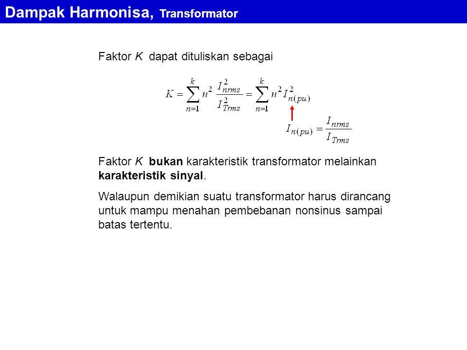 Faktor K dapat dituliskan sebagai Faktor K bukan karakteristik transformator melainkan karakteristik sinyal. Walaupun demikian suatu transformator har