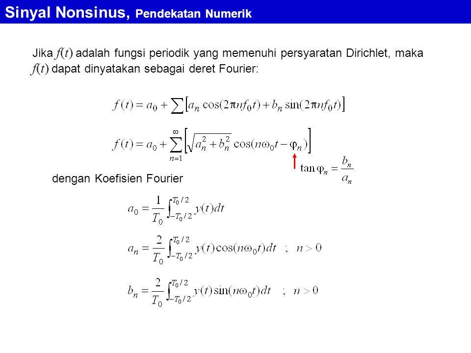 Sinyal Nonsinus, Pendekatan Numerik Pendekatan Numerik Spektrum Sinyal Nonsinus Koefisien Fourier luas bidang yang dibatasi oleh kurva y(t) dengan sumbu-t dalam rentang satu perioda luas bidang yang dibatasi oleh kurva dengan sumbu-t dalam rentang satu perioda luas bidang yang dibatasi oleh kurva dengan sumbu-t dalam rentang satu perioda Dengan penafsiran bentuk integral sebagai luas bidang, setiap bentuk sinyal periodik dapat dicari koefisien Fourier-nya, yang berarti pula dapat ditentukan spektrumnya Dalam praktik, sinyal nonsinus diukur dengan menggunakan alat ukur elektronik yang dapat menunjukkan langsung spektrum amplitudo dari sinyal nonsinus yang diukur
