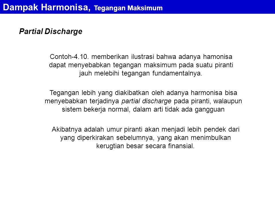 Partial Discharge Contoh-4.10. memberikan ilustrasi bahwa adanya hamonisa dapat menyebabkan tegangan maksimum pada suatu piranti jauh melebihi teganga