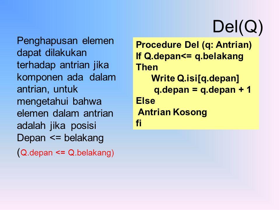 Penghapusan elemen dapat dilakukan terhadap antrian jika komponen ada dalam antrian, untuk mengetahui bahwa elemen dalam antrian adalah jika posisi De