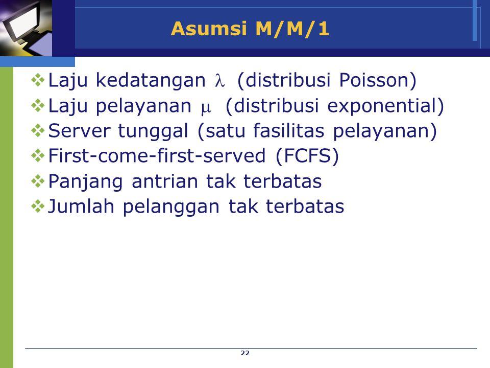 22 Asumsi M/M/1  Laju kedatangan  (distribusi Poisson)  Laju pelayanan  (distribusi exponential)  Server tunggal (satu fasilitas pelayanan)  Fir