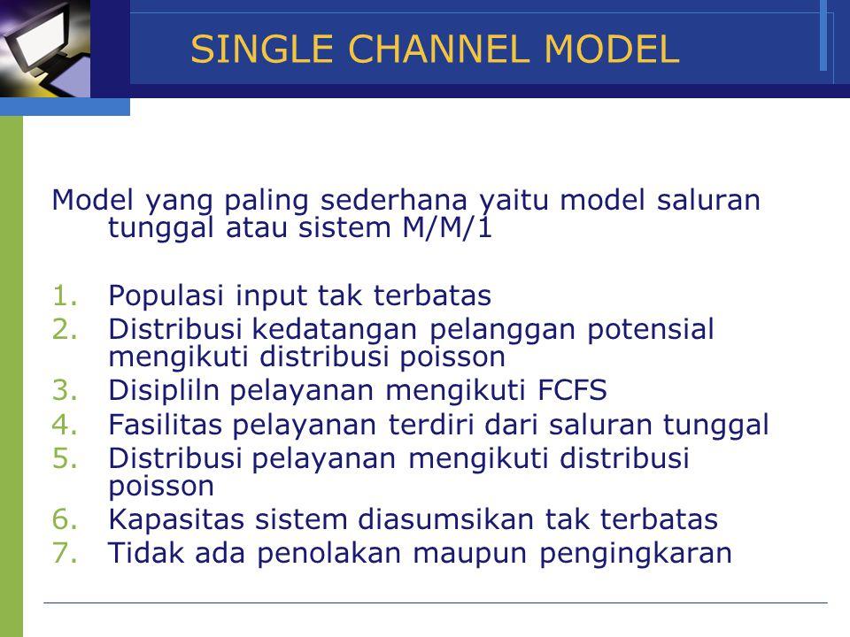 SINGLE CHANNEL MODEL Model yang paling sederhana yaitu model saluran tunggal atau sistem M/M/1 1.Populasi input tak terbatas 2.Distribusi kedatangan p