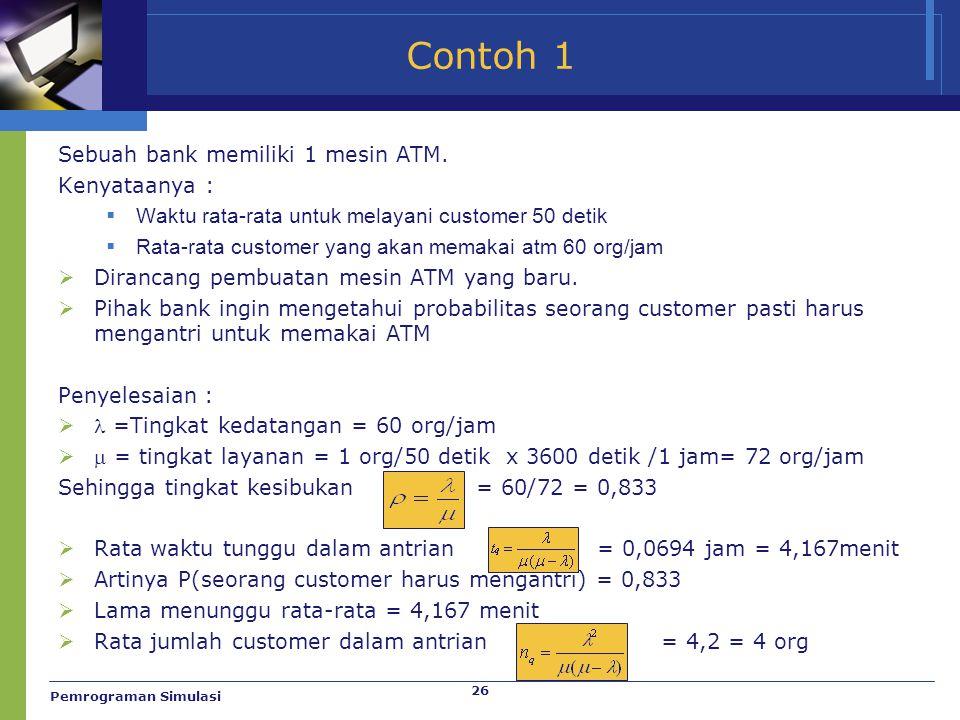 26 Contoh 1 Sebuah bank memiliki 1 mesin ATM. Kenyataanya :  Waktu rata-rata untuk melayani customer 50 detik  Rata-rata customer yang akan memakai
