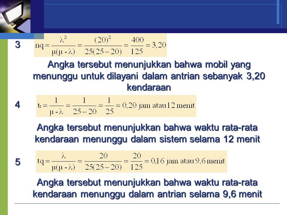 3 Angka tersebut menunjukkan bahwa mobil yang menunggu untuk dilayani dalam antrian sebanyak 3,20 kendaraan 4 Angka tersebut menunjukkan bahwa waktu r