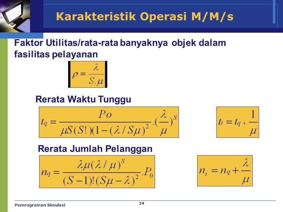 34 Karakteristik Operasi M/M/s Faktor Utilitas/rata-rata banyaknya objek dalam fasilitas pelayanan Rerata Waktu Tunggu Rerata Jumlah Pelanggan Pemrogr