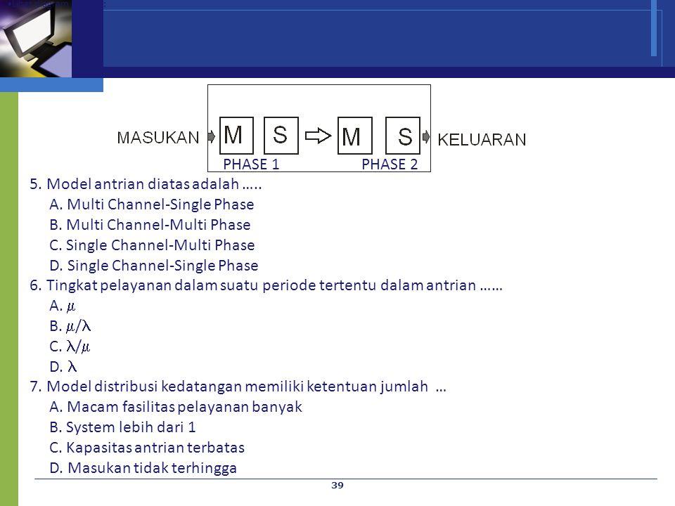 39 Lihat diagram berikut : PHASE 1 PHASE 2 5. Model antrian diatas adalah ….. A. Multi Channel-Single Phase B. Multi Channel-Multi Phase C. Single Cha