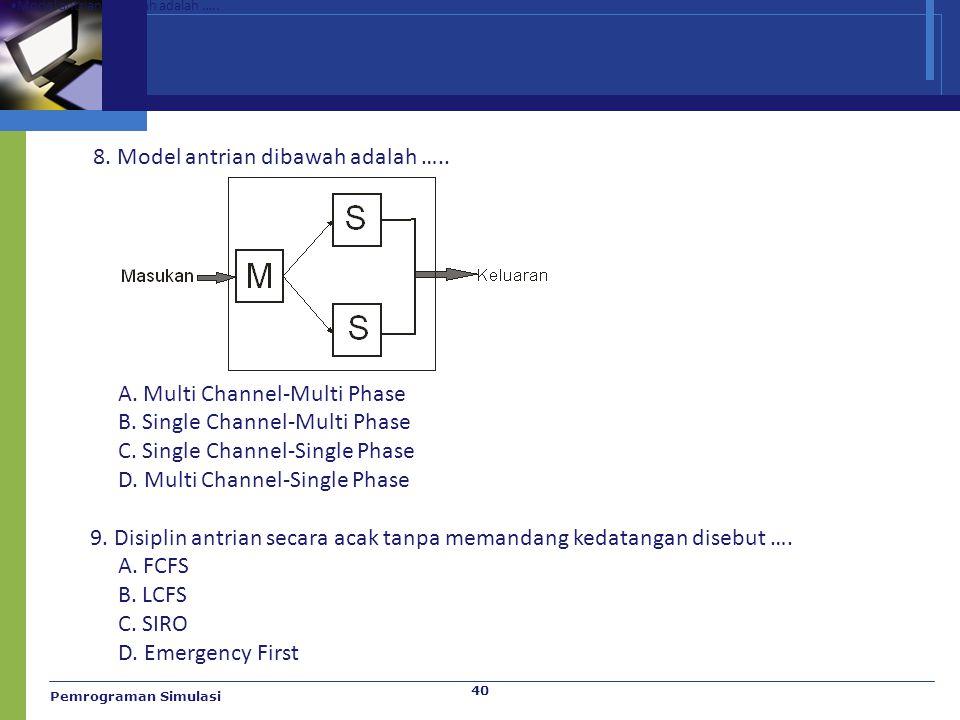 Pemrograman Simulasi 40 Model antrian dibawah adalah ….. A. Multi Channel-Multi Phase B. Single Channel-Multi Phase C. Single Channel-Single Phase D.