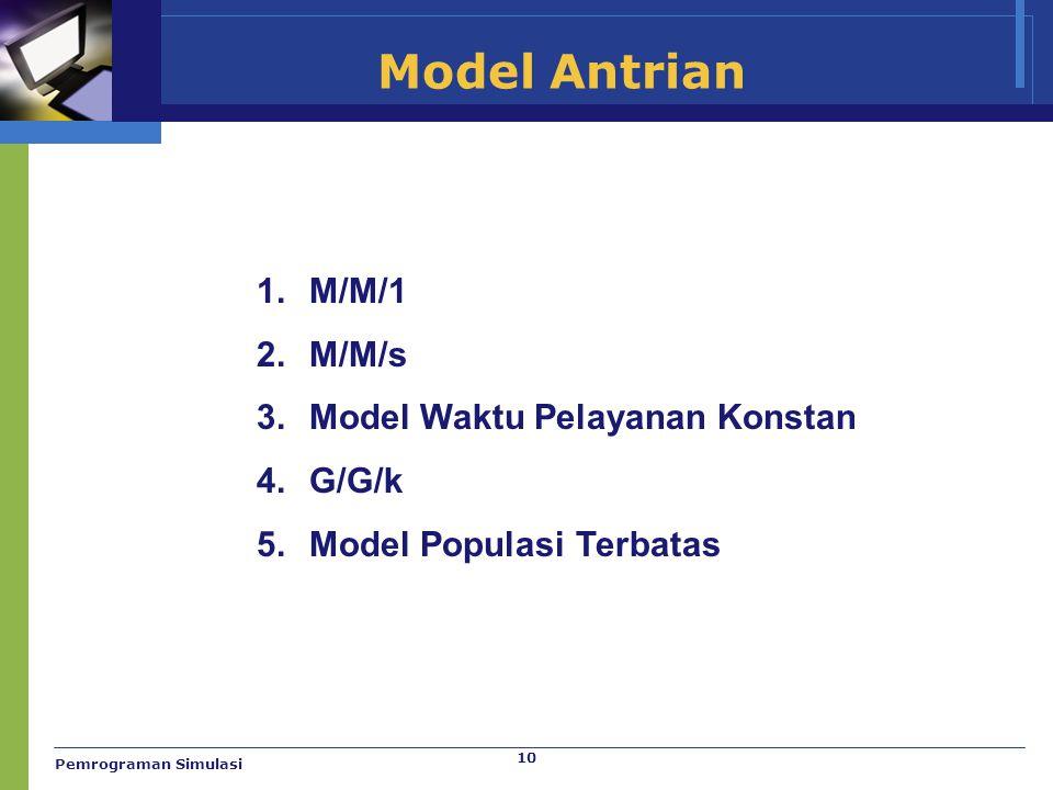 10 Model Antrian 1.M/M/1 2.M/M/s 3.Model Waktu Pelayanan Konstan 4.G/G/k 5.Model Populasi Terbatas Pemrograman Simulasi
