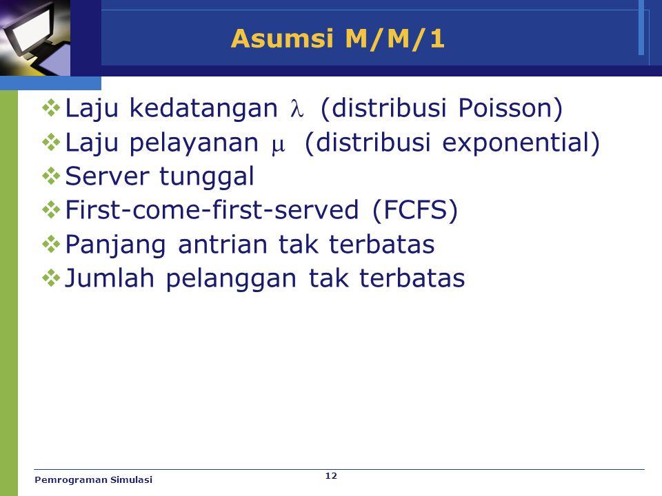 12 Asumsi M/M/1  Laju kedatangan  (distribusi Poisson)  Laju pelayanan  (distribusi exponential)  Server tunggal  First-come-first-served (FCFS)