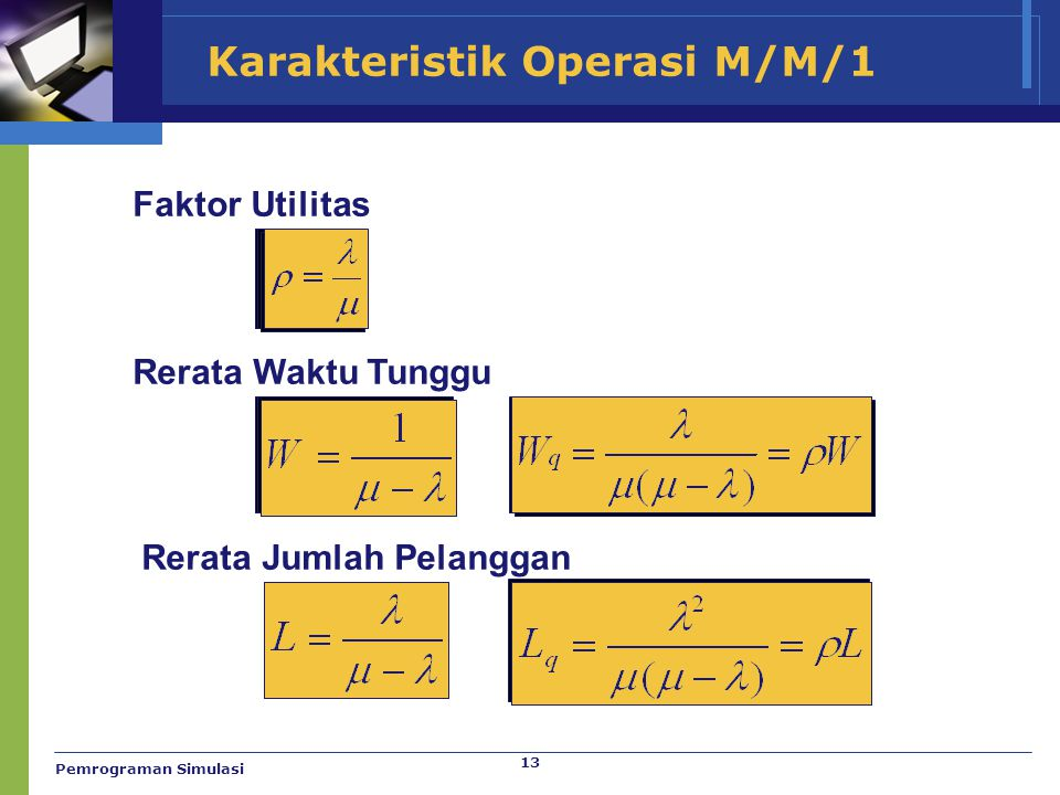 13 Karakteristik Operasi M/M/1 Faktor Utilitas Rerata Waktu Tunggu Rerata Jumlah Pelanggan Pemrograman Simulasi