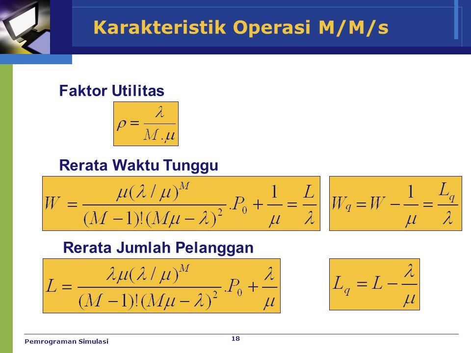 18 Karakteristik Operasi M/M/s Faktor Utilitas Rerata Waktu Tunggu Rerata Jumlah Pelanggan Pemrograman Simulasi