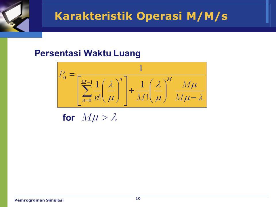 19 Karakteristik Operasi M/M/s Persentasi Waktu Luang for Pemrograman Simulasi