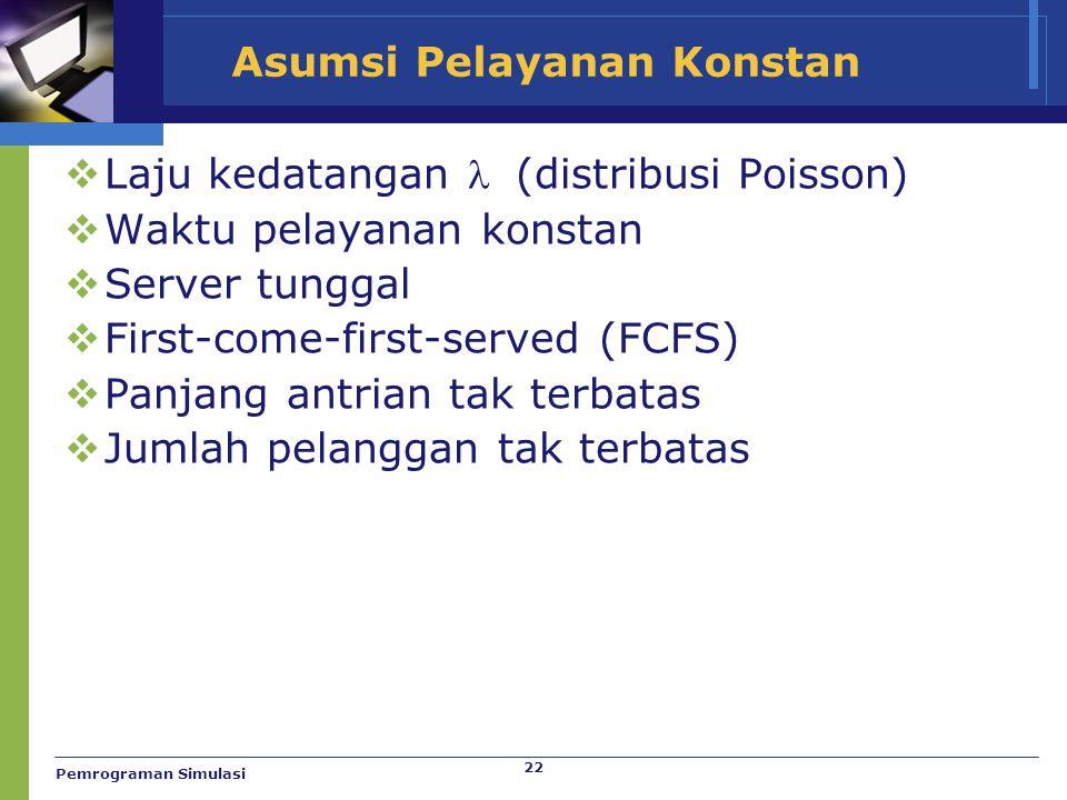 22 Asumsi Pelayanan Konstan  Laju kedatangan  (distribusi Poisson)  Waktu pelayanan konstan  Server tunggal  First-come-first-served (FCFS)  Pan