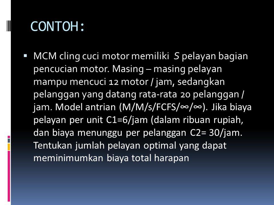 CONTOH:  MCM cling cuci motor memiliki S pelayan bagian pencucian motor. Masing – masing pelayan mampu mencuci 12 motor / jam, sedangkan pelanggan ya