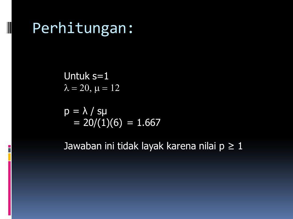 Perhitungan: Untuk s=1  p = λ / sμ = 20/(1)(6) = 1.667 Jawaban ini tidak layak karena nilai p ≥ 1