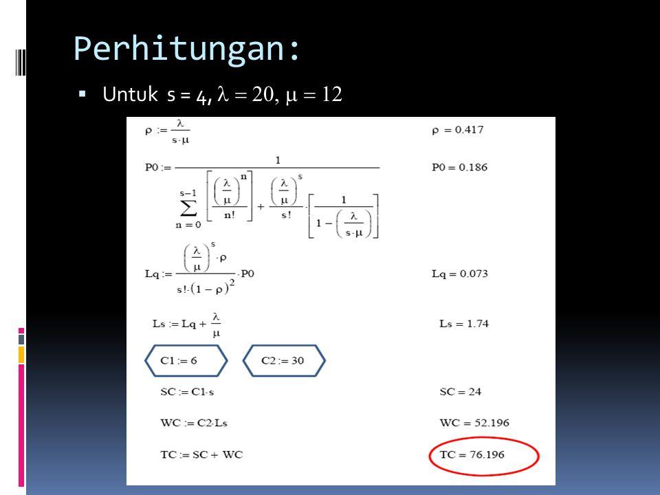 Perhitungan:  Untuk s = 4, 