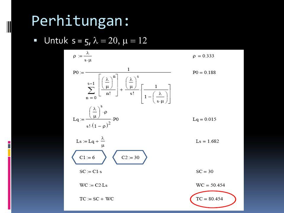 Perhitungan:  Untuk s = 5, 