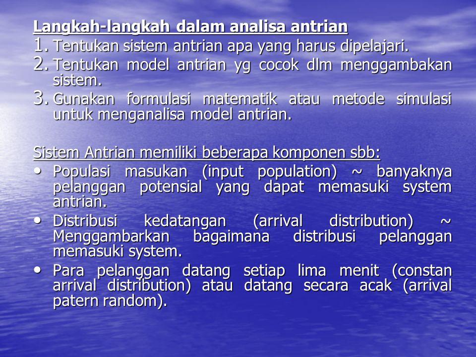 Langkah-langkah dalam analisa antrian 1. Tentukan sistem antrian apa yang harus dipelajari. 2. Tentukan model antrian yg cocok dlm menggambakan sistem