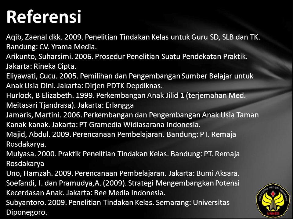 Referensi Aqib, Zaenal dkk. 2009. Penelitian Tindakan Kelas untuk Guru SD, SLB dan TK. Bandung: CV. Yrama Media. Arikunto, Suharsimi. 2006. Prosedur P