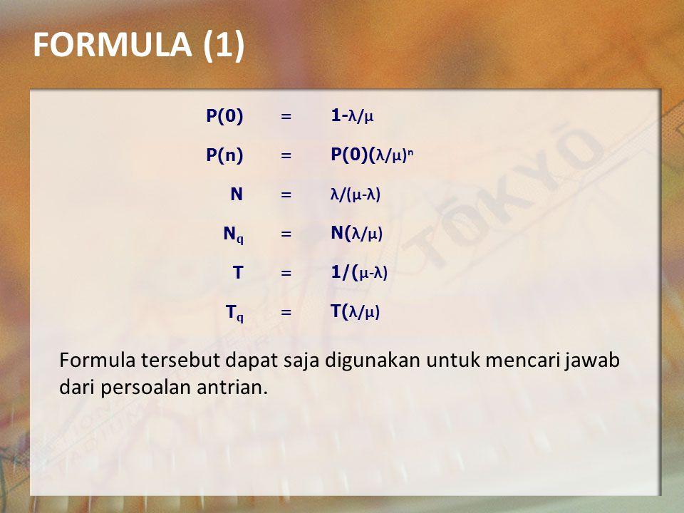 NOTASI DALAM ANTRIAN o P(n):Probabilitas ada n unit dalam sistem.