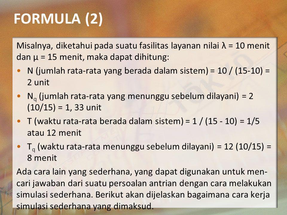 FORMULA (1) Formula tersebut dapat saja digunakan untuk mencari jawab dari persoalan antrian.