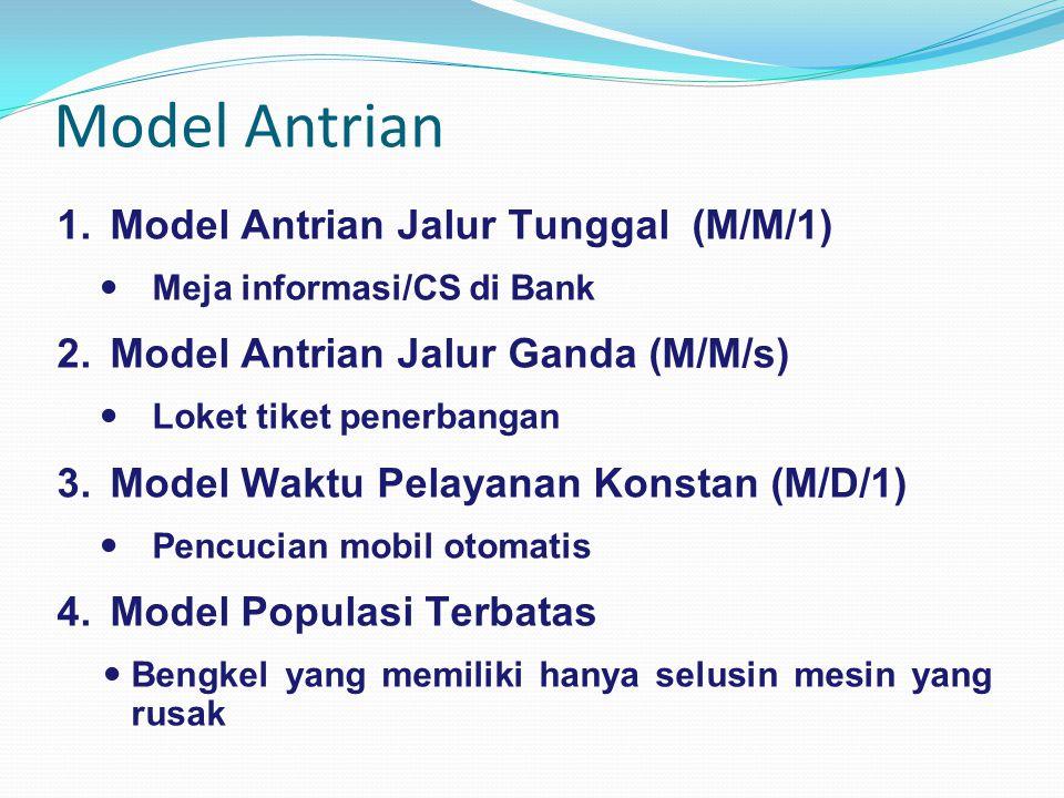 Model Antrian 1.Model Antrian Jalur Tunggal (M/M/1) Meja informasi/CS di Bank 2.Model Antrian Jalur Ganda (M/M/s) Loket tiket penerbangan 3.Model Wakt