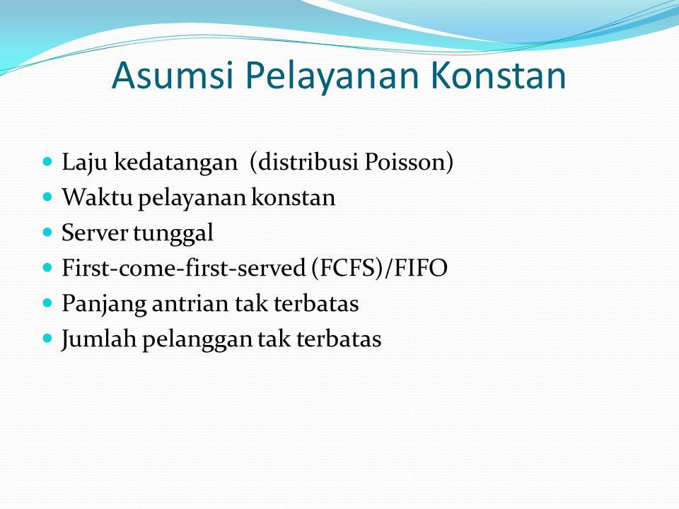 Asumsi Pelayanan Konstan Laju kedatangan (distribusi Poisson) Waktu pelayanan konstan Server tunggal First-come-first-served (FCFS)/FIFO Panjang antri