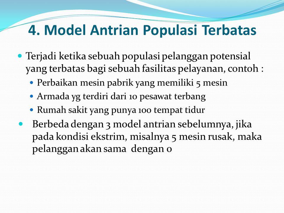 4. Model Antrian Populasi Terbatas Terjadi ketika sebuah populasi pelanggan potensial yang terbatas bagi sebuah fasilitas pelayanan, contoh : Perbaika